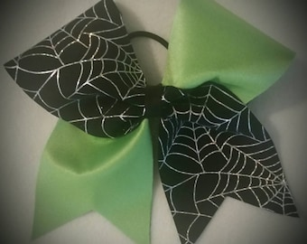 Lime green Spiderweb Cheer bow