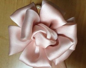 Larger Handmade Silk Flower (2.5 inches) In LT Pink My-650 Ready To Ship