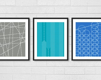 Dining Room Art - Living Room Prints Set of 3 - Modern Living Room Wall Decor - Industrial Geometric Patterns - Blue Aqua Gray - Posters