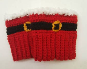 Santa's Boot Cuffs. Winter Boot Cuffs. Christmas Boot Cuffs. Women's Boot Cuffs. Gift for Her. Gift Under 30. Christmas Party Accessories.