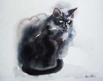 Cat in sunshine - original watercolor painting