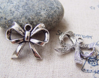 Silver Bow Tie Charms Bowite Knot 19x22mm Set of 20 pcs A2900