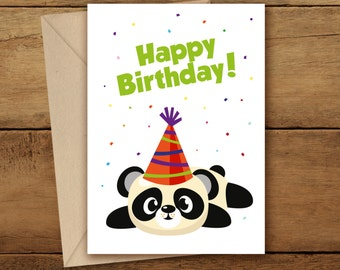 Printable birthday cardprintable panda woodlandhappy birthday card panda woodland happy birthday panda panda party greetings card birthday bookmarktalkfo Image collections
