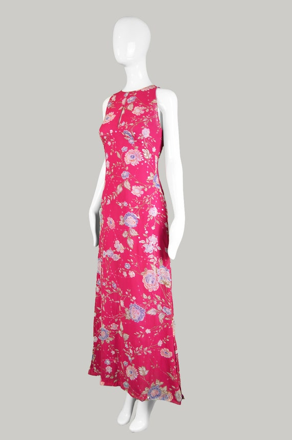 Style EMANUEL Floral Pink Maxi Dress 90s Dress Dress UNGARO Sleeveless Keyhole Fuchsia Chinese Asian Dress Day Long Evening Silk Vintage 5zx0Aq4