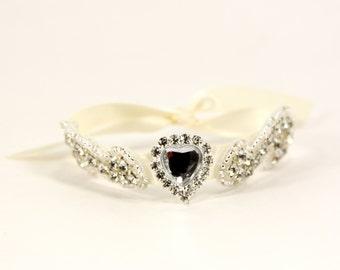 Ivory Bridal Cuff, Bridal Bracelet, Rhinestone Bridal Cuff, Bridesmaid Jewelry