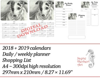 """Printable Greyhound calendar 2018 / 2019 and planners - """"Patch"""""""