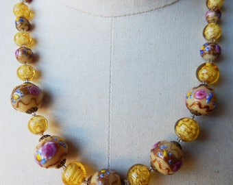 A Necklace Handmade with Vintage Venetian Murano Wedding Cake Fiorato and Sommerso Glass Beads - 1950s Beads - 20 inches plus Extender