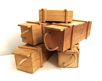 RESERVED Vintage Box Sliding Lid Wood Unfinished Pencil Jewelry Trinket Keepsake Wood Storage Small Chest Trunk Spice Holder Desk Organizer