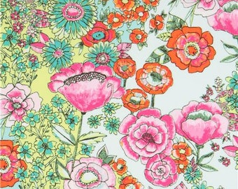 218742 light turquoise mint green fabric with colorful flower