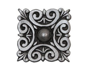 2 Square Scroll 7/8 inch ( 21 mm ) Pewter Metal Buttons Antique Silver Color