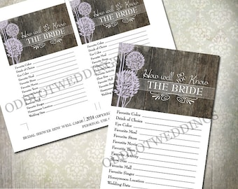 Bridal Shower Game - How well do you know the bride - Rustic Wood And Trees - INSTANT DOWNLOAD