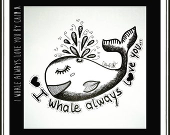 Whale - Illustration - pens, ink and pens.