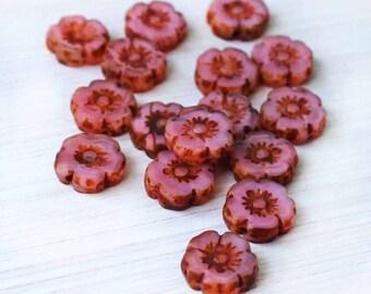 6 Czech Glass Beads 10mm Hawaiian Pansy Flower Pink Tones - CB047
