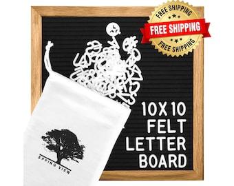 "Black Felt Letter Board: 10""x10"" Changeable Message Board Sign, Oak Wood Frame - 344 Letters - Free Cotton Bag, Scissors, Stand & Wall Mount"