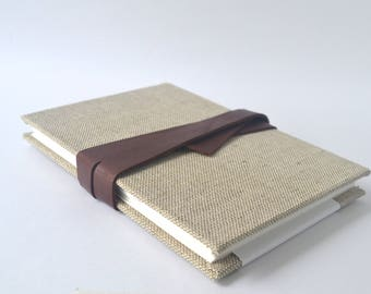 Brown Cloth Handbound Sketchbook with Leather Tie, Hard Cover Light Brown Travel Journal, Watercolour Boustrophedon Sketchbook