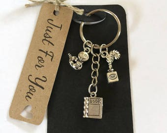 Writers Gift Librarians Gift Bookworm Keyring