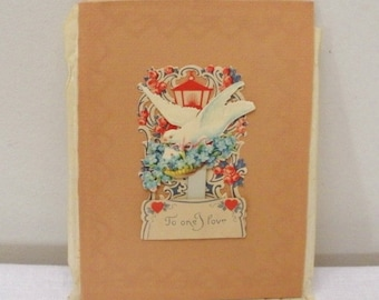 Vintage Forget- Me- Nots & Dove Pop Up Fold Out Valentine
