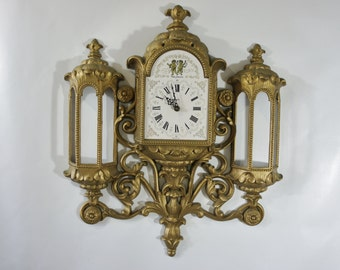 Hollywood Regency Rococo Ornate  gold finish New Haven 1974 Cherub Floral #597 wall battery clock