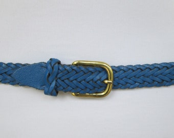 """Capezio Blue Leather Braided Belt - Womens M to L up to 36"""""""