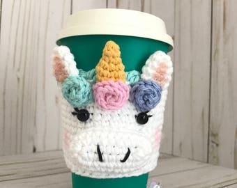 Unicorn Cup Cozy, Unicorn Crochet Cup Sleeve