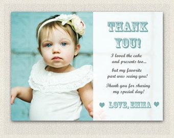 Photo Thank You Card / Printable Download / Birthday Thank You Note / Girls Birthday (108)