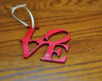 Red Painted Philly Love Ornament