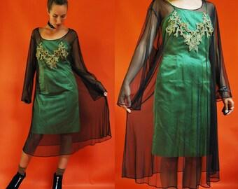 1980s Sheer Mesh Black Overlay / Layering Dress
