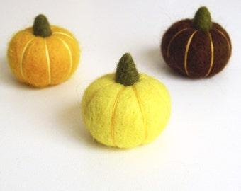 Small fall pumpkins, needle felted miniature pumpkin set -  mustard, lemon yellow, brown, Thanksgiving decor, fall felt vegetables