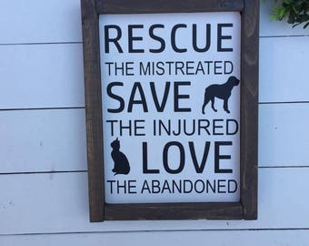 """Rescue Dog sign, wood sign, gifts,8.5""""x11.5"""""""