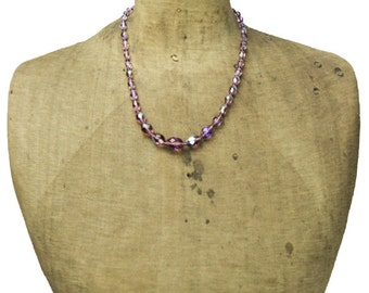 Faceted Purple Glass Bead Necklace, Long Purple Bead Necklace, Long Purple Necklace,Purple Czech Glass Bead Necklace
