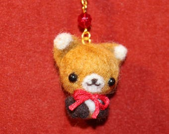 Lucky Kitsune - Miniature Needle felted Fox Charm cellphone strap