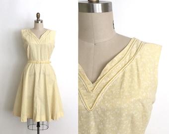 vintage 1940s dress   40s calico print cotton dress