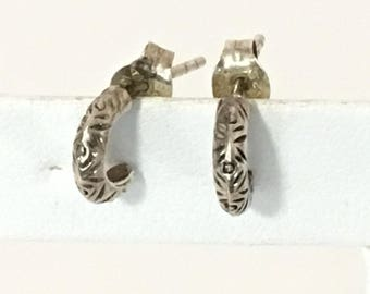 Itty Bitty Etched Crescent Earrings 925 Sterling Silver