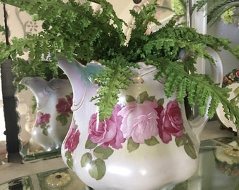 Gorgeous M.Z. Austria Pitcher ~ Large Pitcher With Roses ~ Antique China ~ Collectible ~ Water Pitcher ~ Flower Vase ~ Romantic Homes