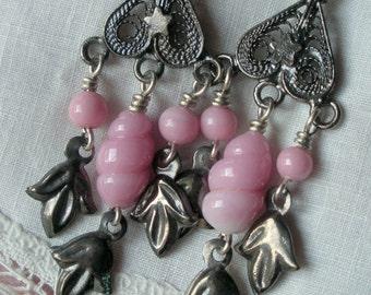 Vintage Japan Pink Glass Filigree Earrings