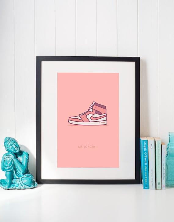 "finest selection 27ecc 84e14 ... Nike Air Jordan 1 Shoes Sneaker Poster Sneakerhead Shoe  Jordan Retro 3  print poster  unstablefragments ""Nike Air Jordan 1 Mid via Магазин ..."