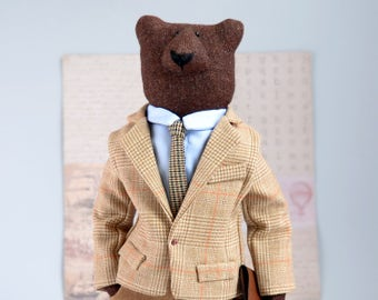 Spirit bear ooak , Personalised gift for boss , Grizzly bear art , papa bear collectible stuffed animals  in clothes , business style