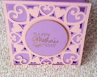 Beautiful pink and purple mother's day card, intricate hearts design card,