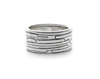 Women's Silver Band, Sterling Silver Ring, Statement Ring, One of a Kind Ring, Silver Wedding Band, Handmade Silver Ring