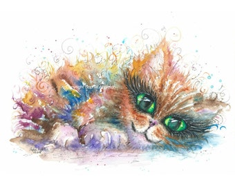 The Comfy Kitten - A4 Original Watercolour Painting printed on watercolor paper, each is hand signed by Sophie Appleton