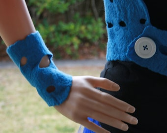 Unique and modern Mermaid Pixie Fairy Dreamy Felt Wrist Warmers. OOAK Wearable Art. Blue with holes. Soft Merino wool.