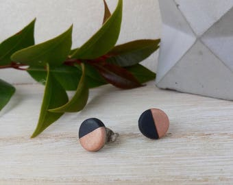 Black and copper half stud earrings, surgical steel posts, fun earrings, two tone earrings, handmade in Melbourne