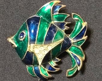 Brooch Angel Fish Cloissonie Art Deco Style