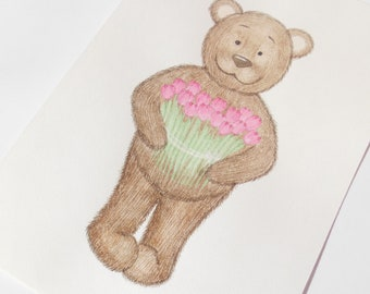 Bear with tulips print, Children print, Watercolor art, Holiday Card print, Art prints