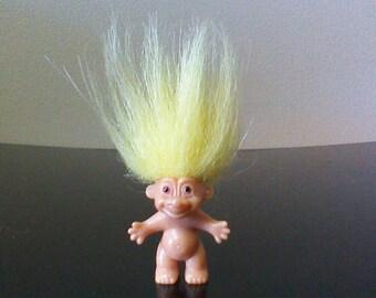 "Vintage Russ Troll Doll Yellow Hair 1"" Mini Trolls"