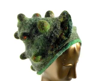 Grüner Filz Hut - Wald Zaubererhut - Fantasy fühlen von Rinde Flechten und Moos - üppigen tragbare Ardas für einzigartige Selbstausdruck - Wald Hut