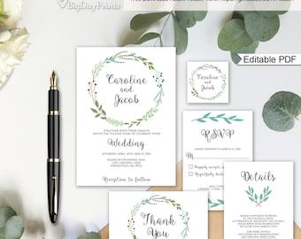 Garden Wedding Invitation Printable, Wedding Invitation Suite Template, Invitation Set, #A003A, Editable PDF - you personalize at home.