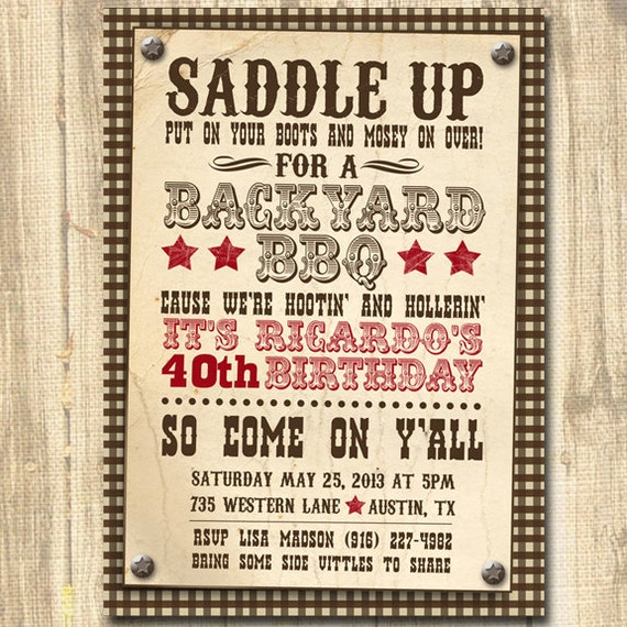 Brand new Western Themed Birthday Western Invitation Western theme LI36