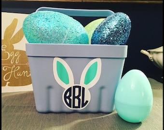 Easter Bunny Ears Basket Bucket Vinyl Monogram Decal