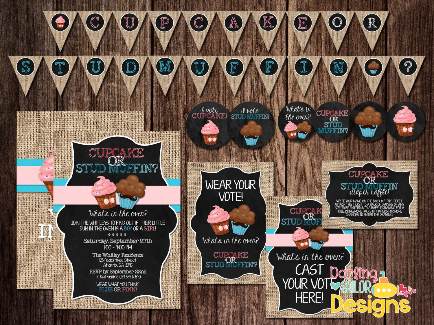 Cupcake or Stud Muffin Gender Reveal Party Package Includes